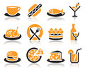 Food icons collection of color over white background Royalty Free Stock Images