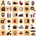Food icons collection cooking ingredients set Stock Image