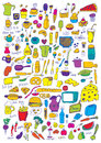 Food icons hand drawn colorful set Royalty Free Stock Images