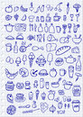 Food icons hand drawn set Royalty Free Stock Images