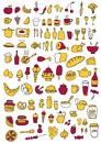 Food icons hand drawn set Royalty Free Stock Photo