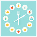 Food Icons Infographic Clock. Flat Design. Fitness, Diet and Calorie Counter Concept Royalty Free Stock Photo