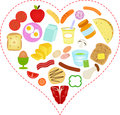 Food icons inside a Heart Stock Images