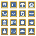 Food icons set blue