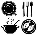Food icons set stylized isolated on a white background Royalty Free Stock Photography