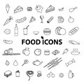 Food icons set. Vector illustration.