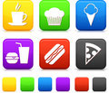 Food Icons on Square Internet Buttons Royalty Free Stock Images
