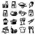 Food icons vector black icon set on white Stock Image