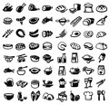 Food icons vector black icon set on white Royalty Free Stock Photo