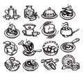 Food icons vector illustration authors in Royalty Free Stock Photos