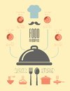 Food infographic template flat elements plus icon set Royalty Free Stock Photography