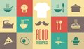 Food infographic template flat elements plus icon set Stock Photo