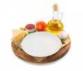 Food ingredient at wooden tray Stock Photo