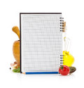 Food ingredients and recipe book on white background Royalty Free Stock Photos
