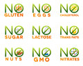 Food intolerance icons Royalty Free Stock Photo
