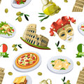 Food of italy cuisine. Illustration of different national elements. Vector seamless pattern