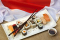 Food - Japanese Sushi - Flag of Japan Royalty Free Stock Photo