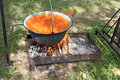 Food kettle cooking in the over the fire in nature Stock Photos