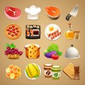 Food and kitchen accessories icons set in the eps file each element is grouped separately clipping paths included in additional Royalty Free Stock Image