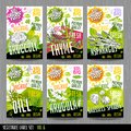 Food label set stickers collection vegetable labels spices package design. Broccoli, asparagus thyme dill arugula brussels sprouts
