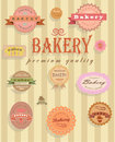 Food labels and badges collection of vintage retro grunge vector illustration signs on brown background Stock Photo