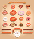 Food labels and badges collection of vintage retro grunge vector illustration signs on brown background Stock Photography