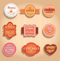 Food labels and badges collection of vintage retro grunge vector illustration signs on brown background Stock Image