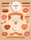 Food labels and badges collection of vintage retro grunge vector illustration signs on brown background Royalty Free Stock Image