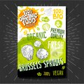 Food labels stickers set colorful sketch style fruits, spices vegetables package design. Brussels sprouts. Vegetable label.