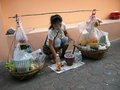 Food lady selling from her carrying device called a bak on the streets of pattaya thailand Royalty Free Stock Photo