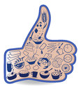 Food like social networks thumb up hand sign button