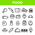 Food Line Icon Set Vector. Home Kitchen Breakfast Food Icons. Menu Pictogram. Fesh Eating Element. Thin Outline Web Royalty Free Stock Photo