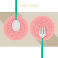 Food linear icons set on dish with spoon and fork