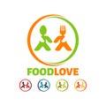 Food Love Logo, Modern creative Food company vector logo template