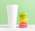Food macaron and tumbler of coffee Royalty Free Stock Photo