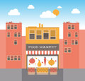 Food market on the street illustration Royalty Free Stock Photos