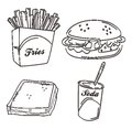 Food meal hand draw design illustration Royalty Free Stock Photography
