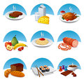 Food and meal icon set illuustration of Royalty Free Stock Photos