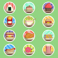Food menu flat icon the drink set collection Royalty Free Stock Photos
