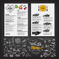 Food menu, restaurant template design. Flyer cafe. Brochure vint