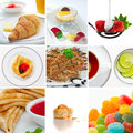 Food mix and drink theme photo collage composed of few images Stock Images