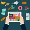 Food online shoping on tablet screen Royalty Free Stock Photo