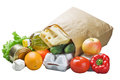 Food in a paper bag Royalty Free Stock Photos