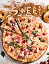 Food photo apple pie sweet fruit pizza concept
