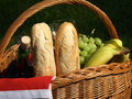 Food for picnic in basket in the garden Royalty Free Stock Images