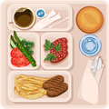 Food for plane passengers. Airplane lunch. Vector illustration Royalty Free Stock Photo