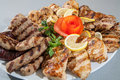 Food plate of different meat barbecue grill Stock Photography