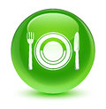 Food plate icon glassy green round button