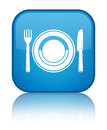 Food plate icon special cyan blue square button Royalty Free Stock Photo