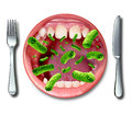 Food poisoning illness health concept with a dinner plate shaped as an open human mouth with dangerous bacteria as a risk of Stock Images